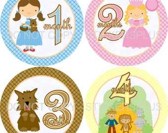 Baby Month Stickers Plus FREE Gift Girl Monthly Milestone Stickers Wizard of Oz Shower PRECUT Baby Stickers Monthly Baby Age Stickers