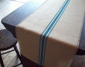Burlap Table Runner 16 x 96 or 18 x 96 with Hand Painted Turquoise Stripes - Wide Table Runner - Rustic Decor - Burlap Table Decor