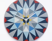 SALE Kaleido - Clock Light blue triangles
