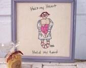 "Primitive Folk Art Stitchery Raggedy Annie Ann Framed Stitchery Decor ""Hold My Heart Hold My Hand"""