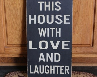"""Primitive """"Bless This House With Love And Laughter"""" wood subway sign 12 x 24 - your color choice"""