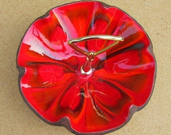 Vintage 60s Treasure Craft fire red enameled nut candy dish faux wood stain 610 USA