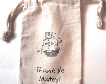 Pirate Ship Party Favor Bags / Set of 15/ Pirate Birthday Party Bags