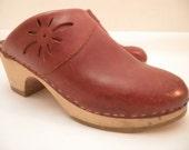 Vintage KRONE Chestnut Brown Leather Clogs from DENMARK, 38 / 7.5