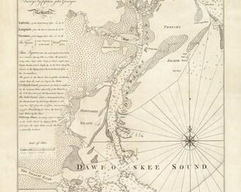1773 Nautical Chart of Daufuskie Sound