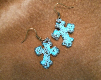 Rusted Cross Earrings with Turquoise Embossing Cowgirl Country Western Gypsy Chic Boho Hippie Farmgirl Christian