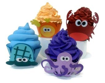 Sea Creature Cupcake Wrappers - Set of 12