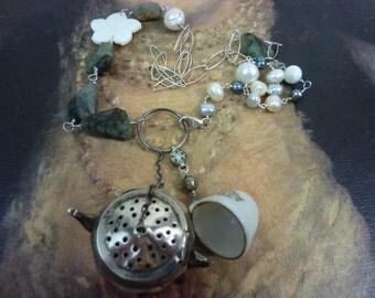 Sold  Reserved for Teresa...TIME FOR TEA vintage sterling tea ball antique assemblage  necklace