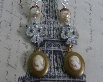 Vintage Antique Assemblage Earrings CAMEO LOCKET earrings