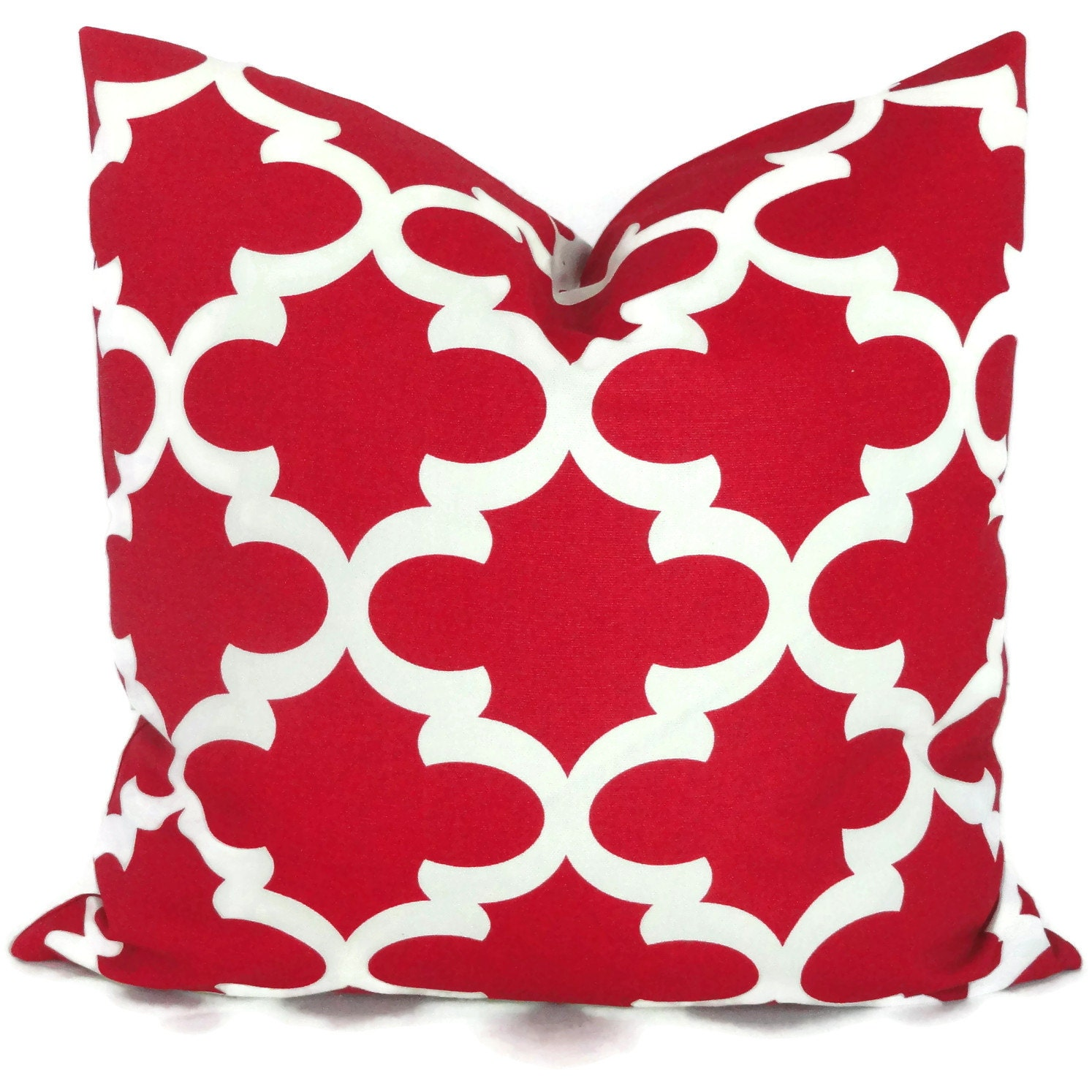 Red Quatrefoil Trellis Decorative Pillow Cover 18x18 20x20