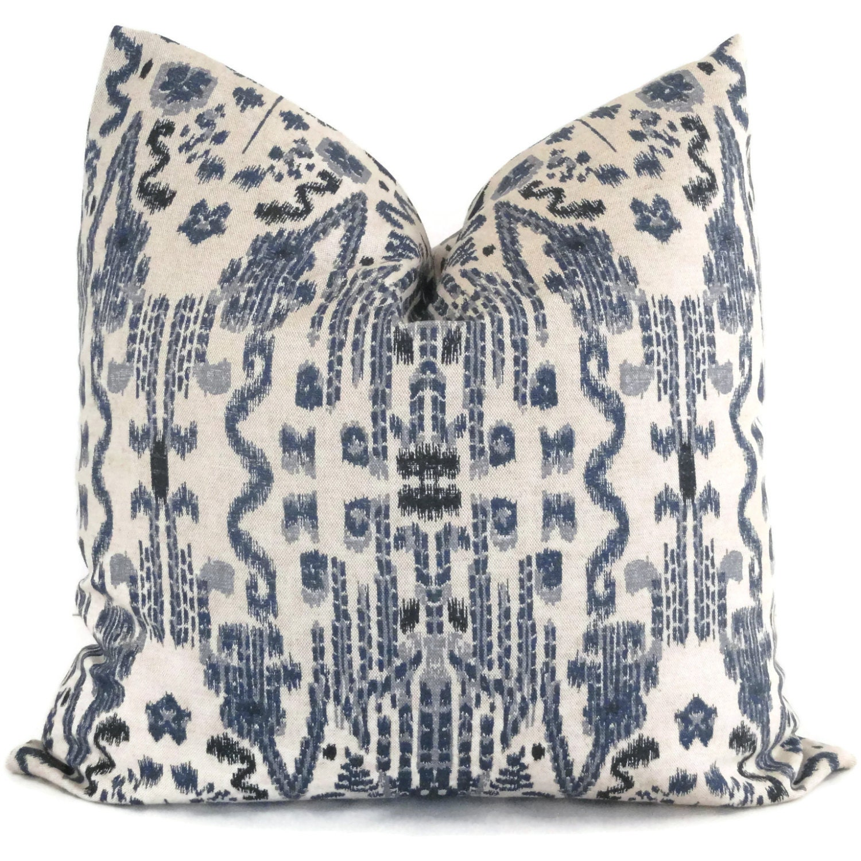 Indigo Blue Ikat Decorative Pillow Cover 18x18 20x20 22x22