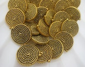 """Antique Gold Buttons 5/8"""" Rope Nautical Design 16mm-58 pieces"""