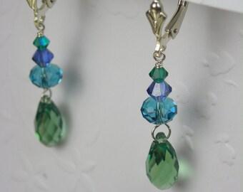 Blue Green Crystal Teardrop Earrings