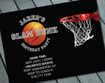 BASKETBALL SPORTS BIRTHDAY Party Invitation: Digital printable file