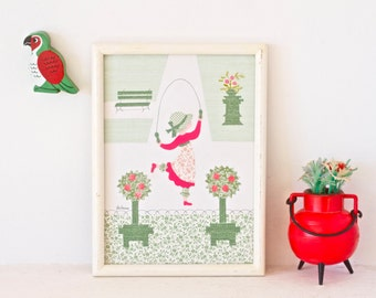 Vintage Picture Frame - Skipping Rope Girl - Wall Hanging Home Decor Signed Ghislaine
