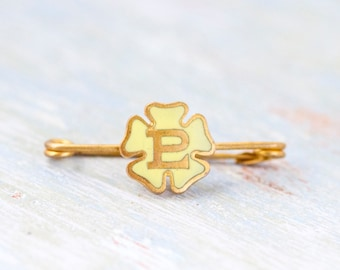 Initial Letter P Tie pin - P is for Passion - Yellow Enamel Flower Bar Lapel Pin