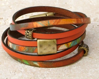 Leather Wrap Bracelet, Multicolored leather wrap, leather art, brass accents, secure antique brass magnet,  wraparound leather