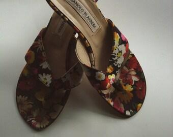 Manolo floral print sandals