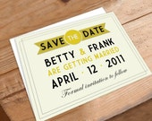 Wedding Save the Date - elegant golden design with art deco vibe