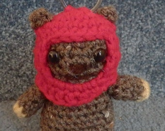 Made to order, Hand crocheted Star Wars Ewok Wicket with Key Chain Amigurumi Doll