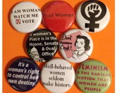 """8 Brand New 1"""" """"Women's Rights"""" Button Set"""