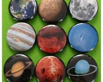 "9 Brand New 1"" ""Solar System"" Button Set"