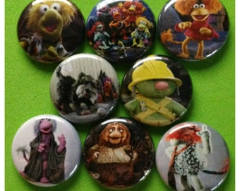 "8 Brand New 1"" ""Fraggle Rock"" Button Set"