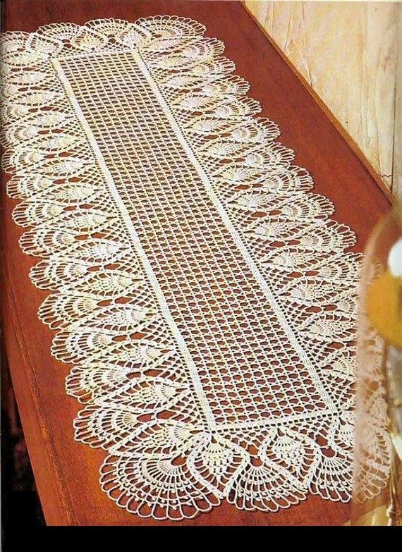 Crochet Doily Center Piece Table Runner Pattern Chart