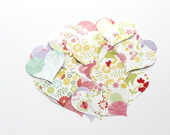 Colorful Floral Heart Die Cuts - Summer Table Decor - DIY Supplies - Scrapbooking