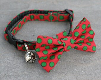 Cat Collar - Green Polka Dots on Red - Matching Bow Tie and Flower Available