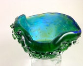 Fused  Dichroic Glass Tea Light Holder Emerald Green with  Crystals Small Dish 003