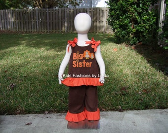 Big Sister/Turkey  Brown Corduroy/Orange Mini Dots Ruffle Aline Top/Pant Set