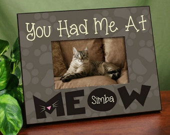 Personalized Had Me At Meow Printed Frame [beloved pet, meow, you had me at meow, cat frame, kitty picture frame, cat memorial] -gfy471090