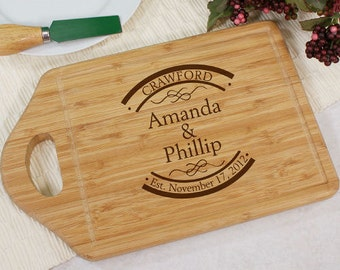 Engraved Established In Bamboo Cheese Carving Board, cutting board, couple, wedding gift, personalized, wooden, kitchen, gift  -gfyL621629