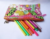 Zippered Purse Pencil Case or Make Up Bag - Japanese Sixties Psychedelic Print Fabric