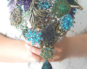 Cascading Peacock Brooch Bouquet with real Peacock Feathers - Blue, Green, Gold, Silver, Purple