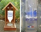 Bottle BIRD FEEDER, Vodka Bottle, Recycled Vodka Bottle. Upcycled, Hand Made (bird seed not included).