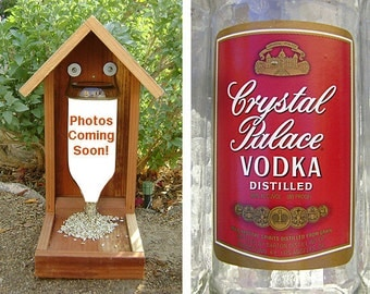 Bottle BIRD FEEDER, Vodka Bottle. Recycled Bottle, Upcycled, Hand Made (bird seed not included). Ready to Ship