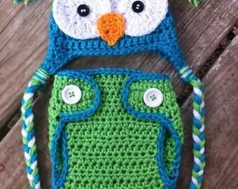 Newborn Boy Crochet Blue Green OWL Earflap Beanie Hat n Diaper Cover Set --  Adorable Photo Prop -- Turquoise Lime