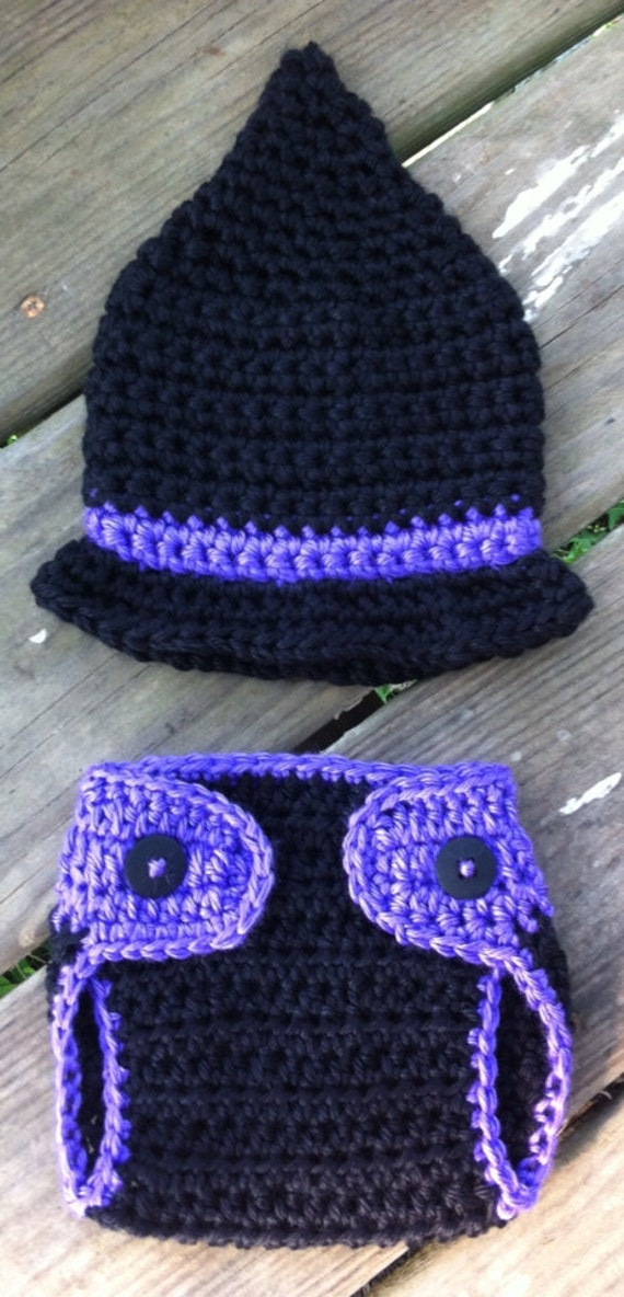 Newborn Crochet Witch Hat Pattern : Newborn Baby Girl Crochet Halloween WITCH by ...