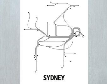 Sydney Lithograph - White/Black