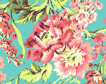 Cotton Fabric by the yard - Coral Teal fabric Bliss Bouquet yardage - Amy Butler's Love collection AB50 - NOT laminated