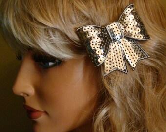 Small Hair Barrette Silver Bow/Womens Gift