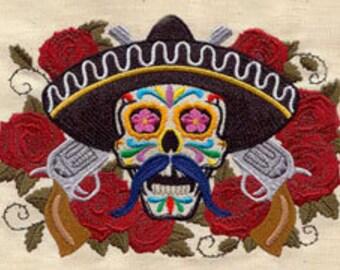 El Bandito Mexican Culture Dia De Los Muertos Embroidered Flour Sack Hand Towel