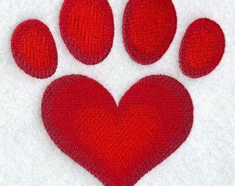 Paw Print Heart Embroidered Flour Sack Hand/Dish Towel