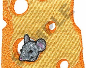 Mouse and Swiss Cheese Embroidered Flour Sack Hand/Dish Towel