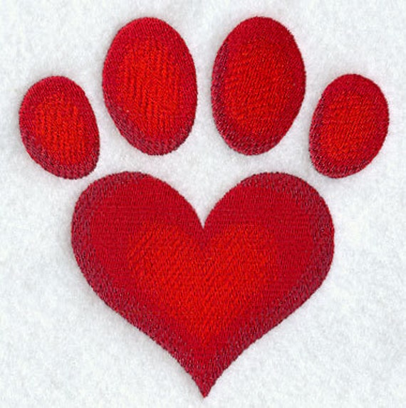 Paw Print Heart Embroidered Flour Sack Hand/Dish Towel