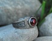 Celtic Garnet Argentium Silver Ring, Gothic Vampire