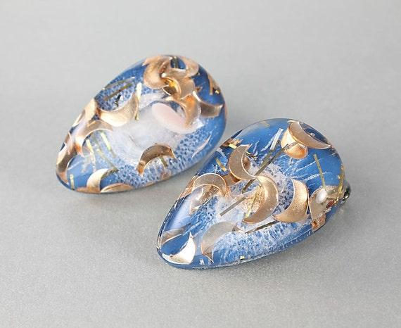 Vintage  Blue lucite Glitter Confetti EarringsTeardrop
