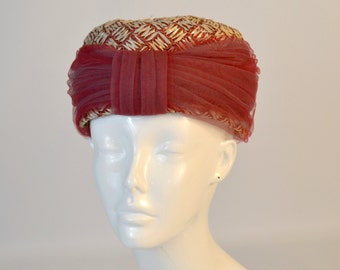 1960s Pink and Cream Bubble Raffia Turban Hat by The Bonnet Shop